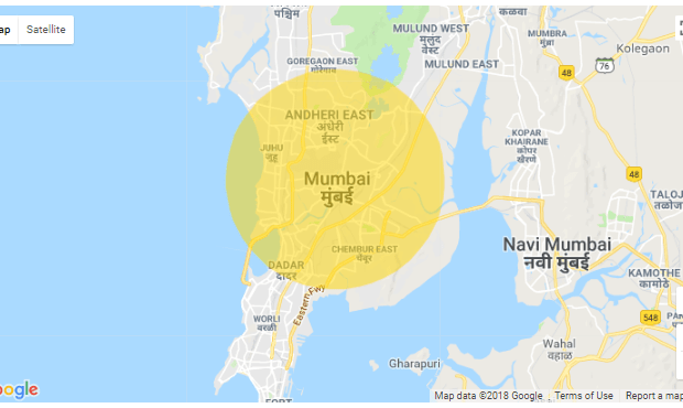 draw circle on google maps