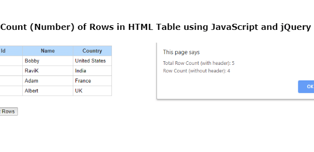 how to get table row count javascript