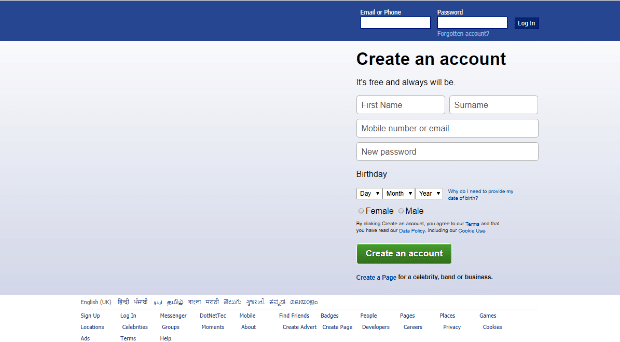 facebook login page html code