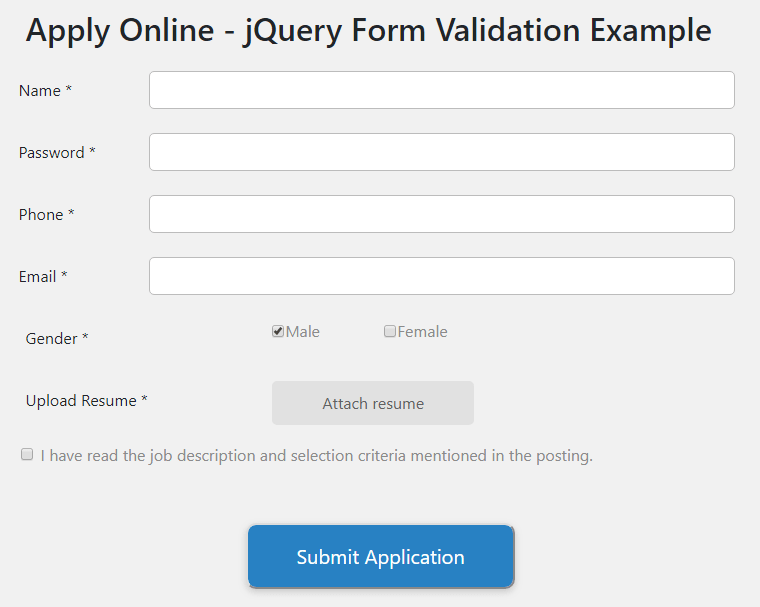 simple jquery form validation example code