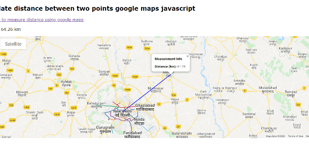 calculate distance between two points google maps javascript