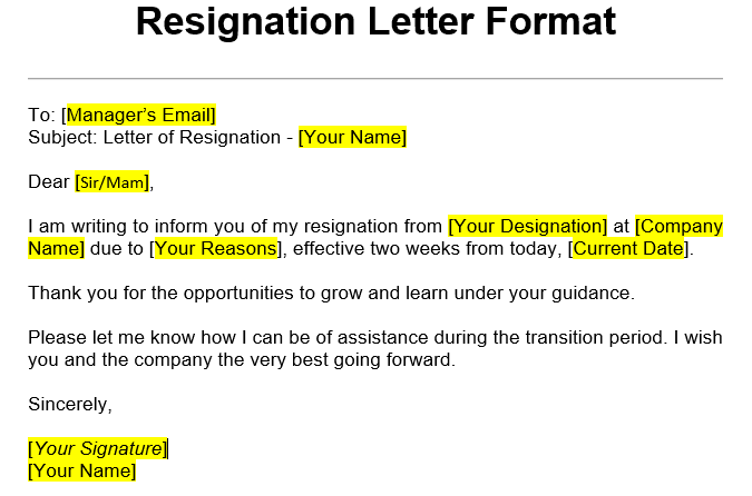 Simple Resignation Letter Sample from dotnettec.com
