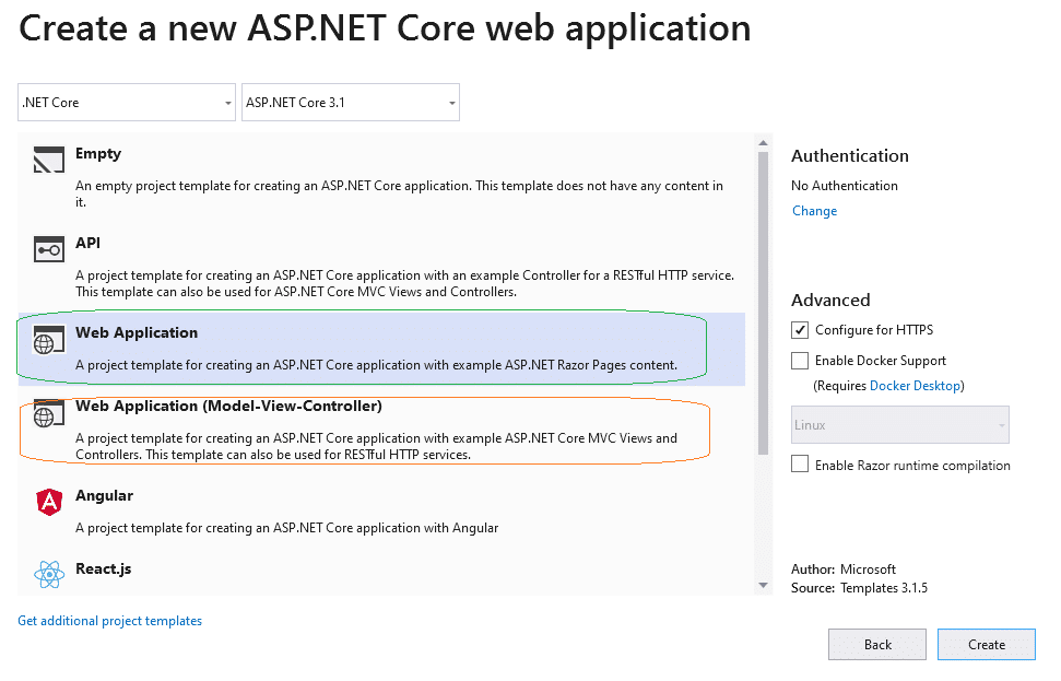 asp.net core web application