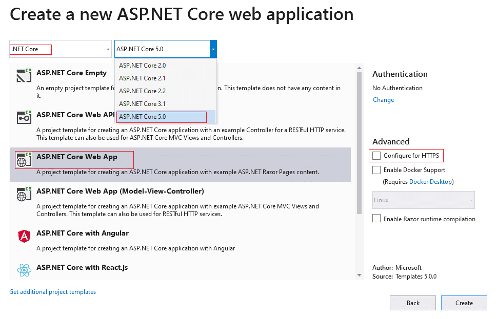 create asp.net core 5.0 web application