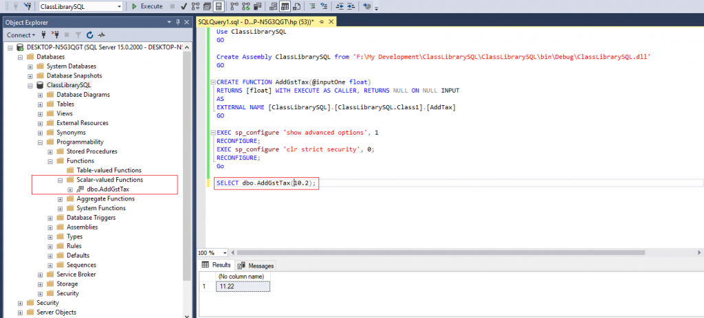 call c# function from sql server